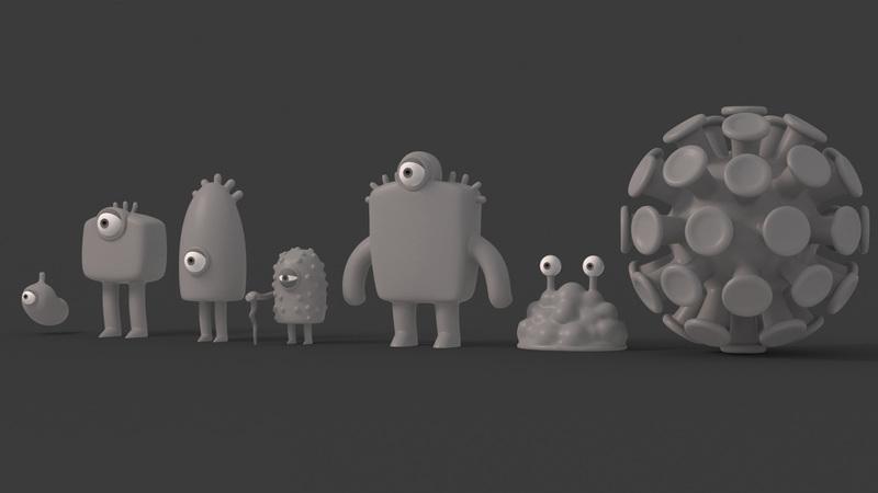 greyscale of characters