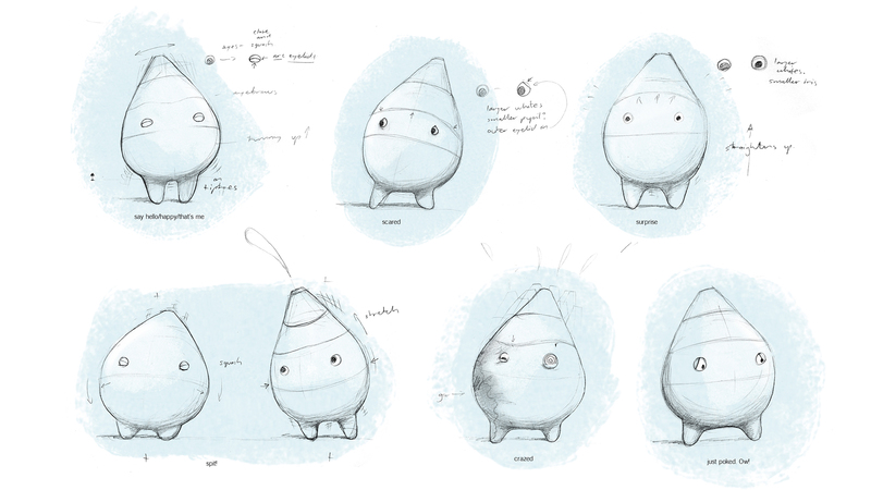 character sketches from design process for intestinal animation