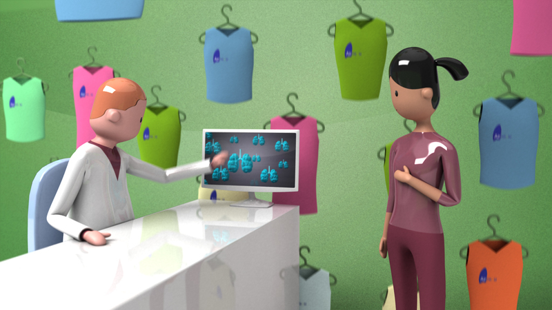 hi res render from Airprom animation- doctor and patient selecting asthma care