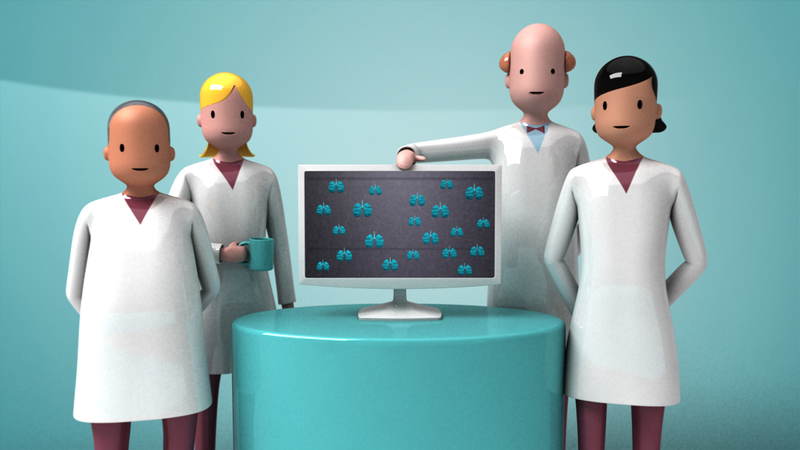 hi res render from Airprom animation- doctors gathered around screen
