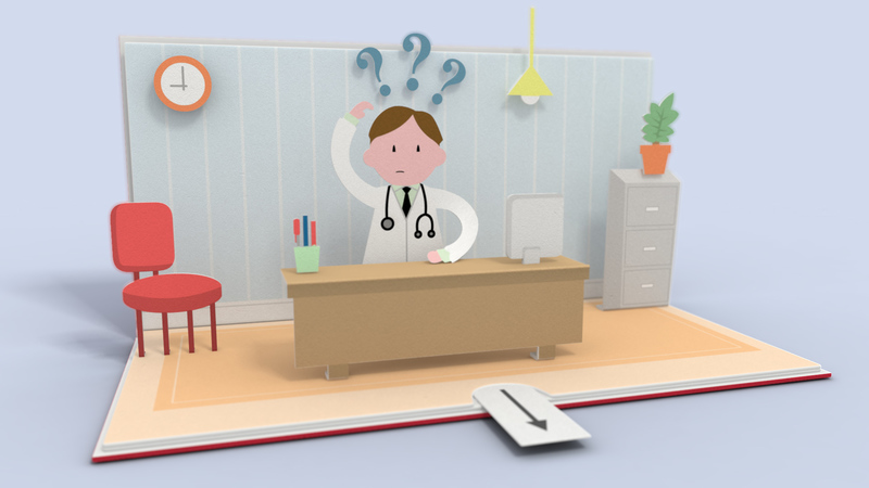 Frame from pop-up book animation. Doctor in his office with lots of question marks surrounding him