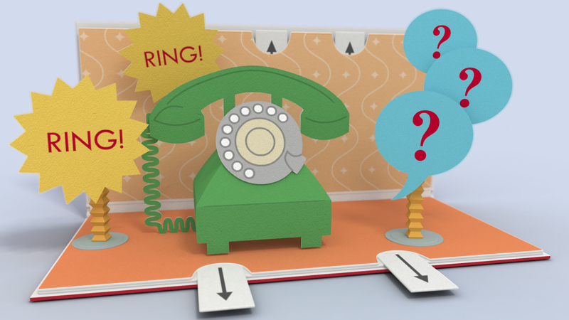 3D pop up book animation.  Phone with icons