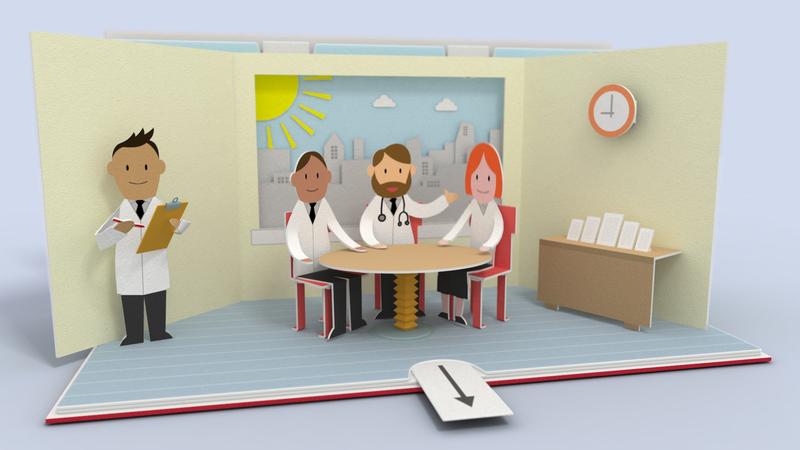 3D pop up book animation. Doctors meeting
