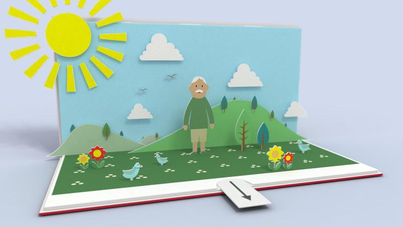 3D pop up book animation. Man in garden