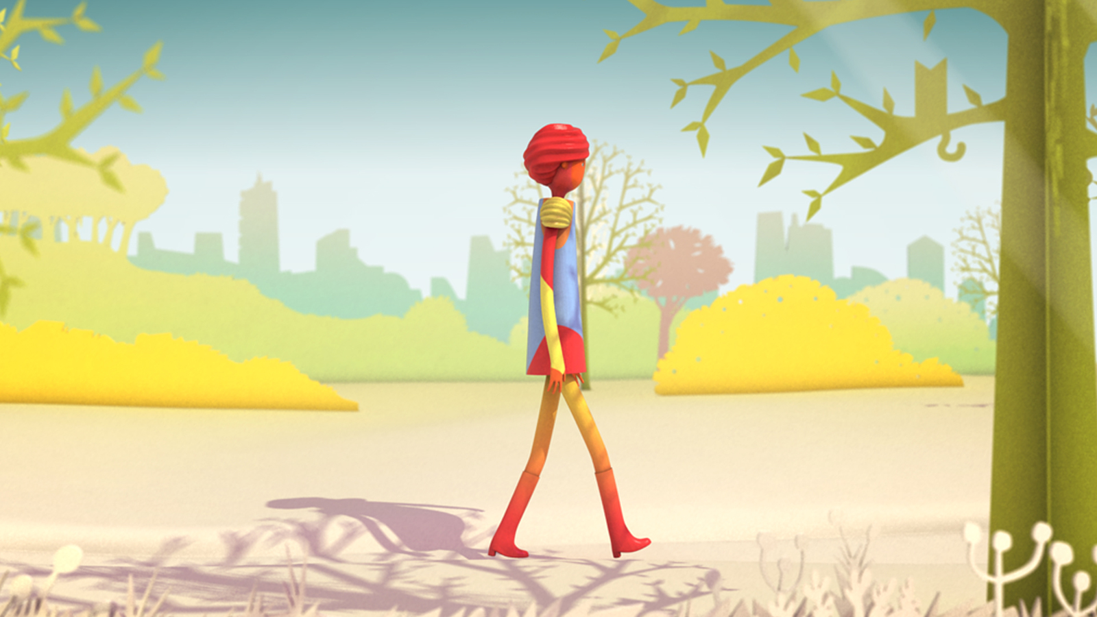 Frame from animation of character walking in park