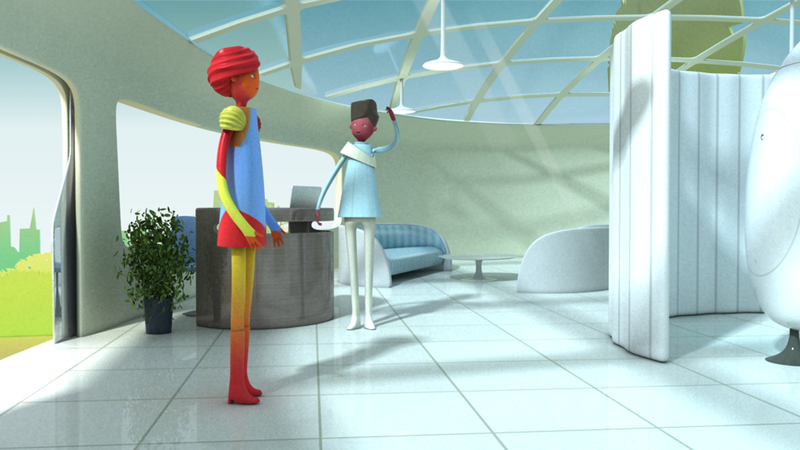 3d still from Personalised medicine animation showing character walking into patient testing centre