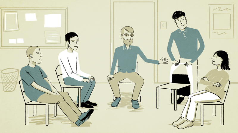 Frame from bunavail animation showing character at support group
