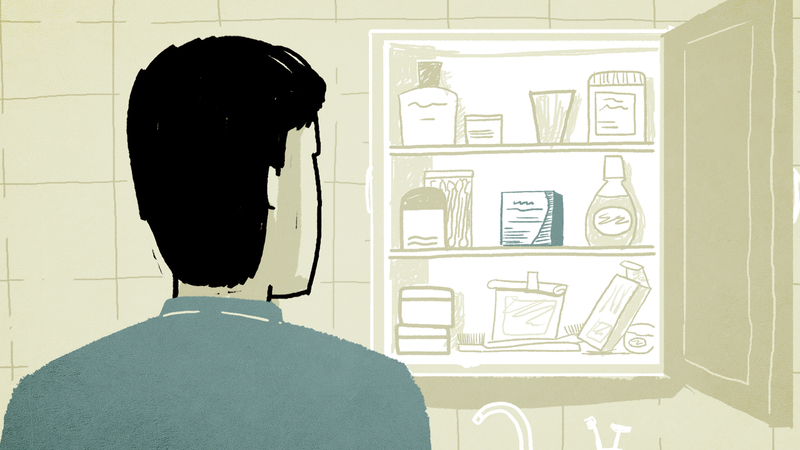 Frame from Bunavail animation, character looking in medicine cupboard