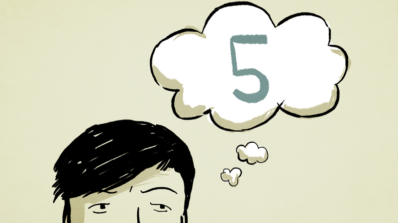 Frame from Bunavail animation, character with thought cloud representing 5 seconds