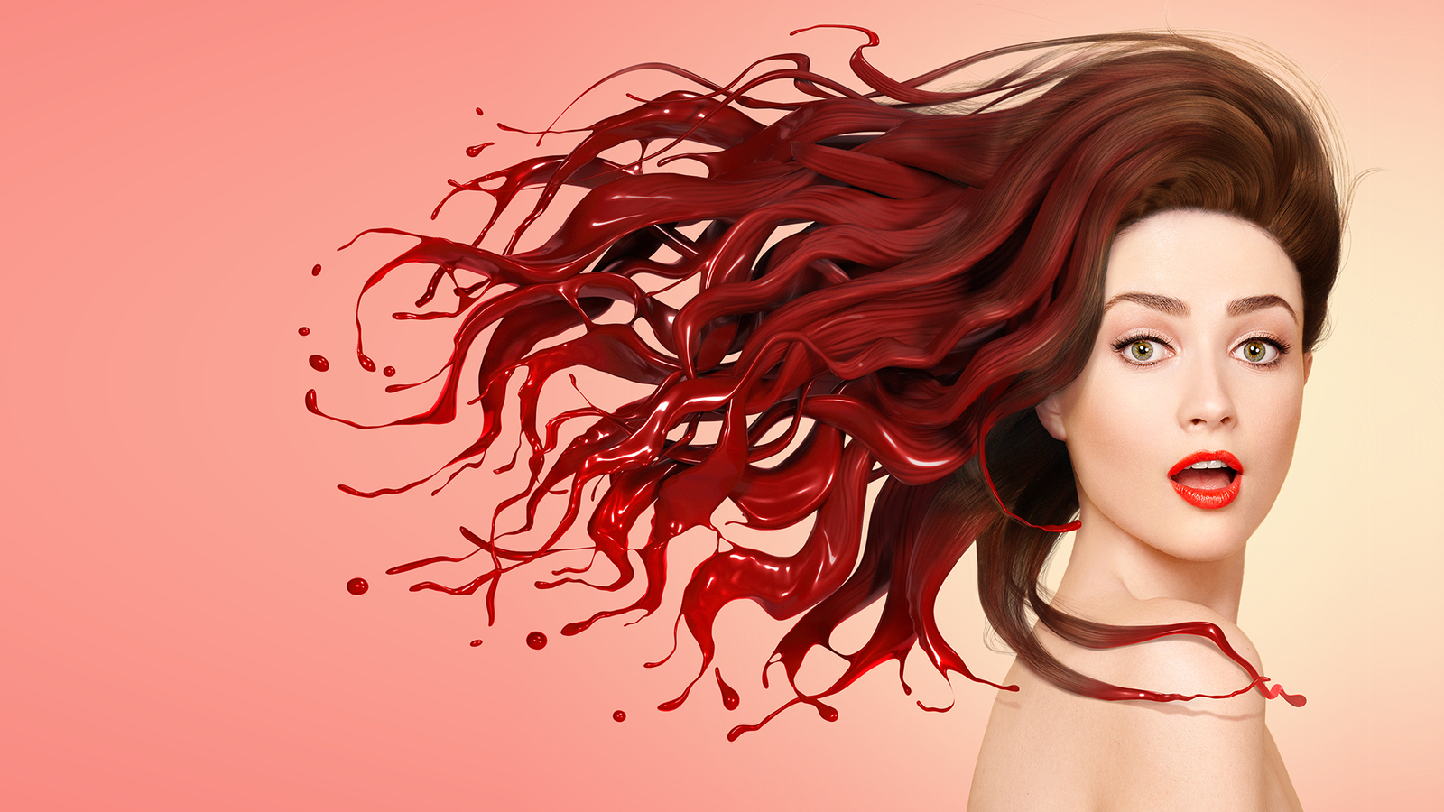 full bleed render of La Perruuque Puissante, showing model in pin up style with hair transforming into red paint