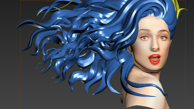 Render of Hair Sculpt from 3ds Max