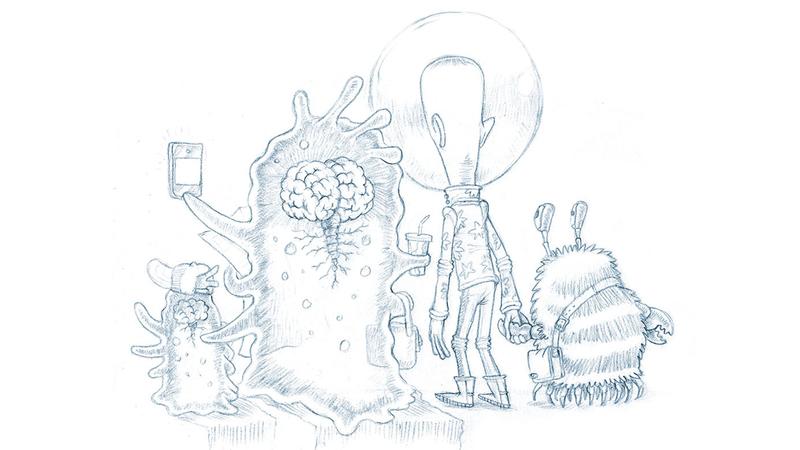 sketch of cosmos aliens