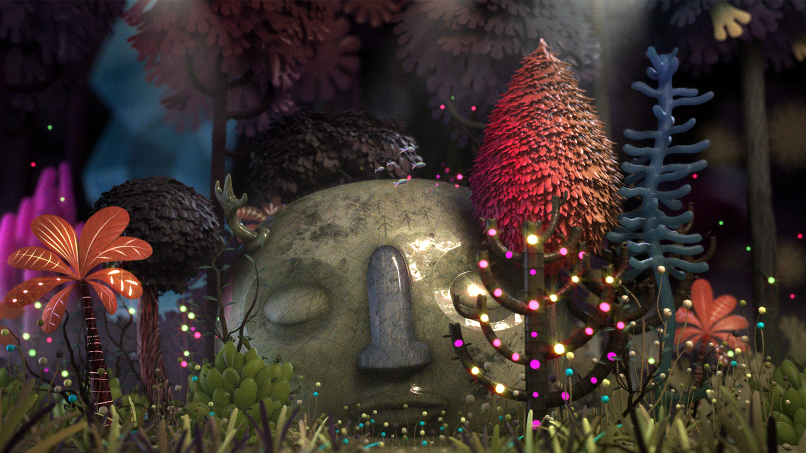 Render of still from The glorious remains of Banapal The Third animation, showing pot head surrounded by foliage under the sea