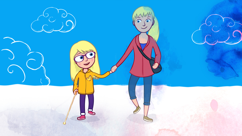 frame from Imagination episode of Melody, illustration of Melody and her mum walking in clouds