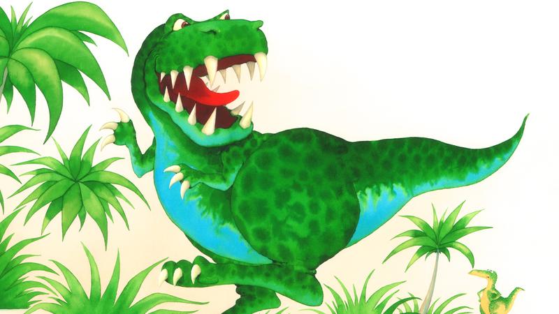 Original illustration of Paul Strickland's Dinosaur ROAR and Dinosaur Squeak