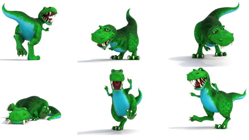 Various posed renders of Dinosaur ROAR