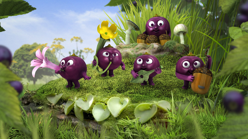 Still of Ribena Berry Band playing instruments on grassy hill